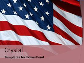 Presentation design featuring photo of us flag background and a coral colored foreground.