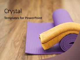 Beautiful PPT layouts featuring physical appearance - purple yoga mat backdrop and a coral colored foreground.