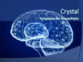 Presentation theme consisting of physiology - brain impulses thinking prosess concept background and a ocean colored foreground.