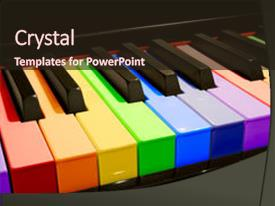 Colorful slides enhanced with piano keys in the colors backdrop and a wine colored foreground.