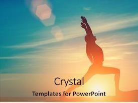 Colorful PPT theme enhanced with pilates - silhouette of young woman doing backdrop and a yellow colored foreground