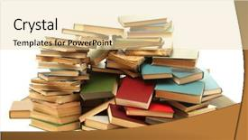 Beautiful PPT theme featuring pile - old books isolated on white backdrop and a lemonade colored foreground