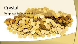 Cool new PPT layouts with pile of golden coins isolated backdrop and a yellow colored foreground
