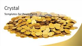 PPT theme with pile of golden coins isolated background and a white colored foreground