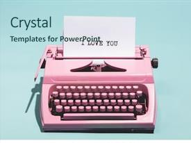 Presentation theme featuring pink vintage typewriter background and a sky blue colored foreground