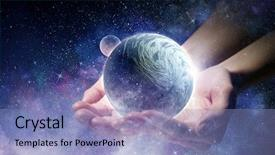 Presentation design consisting of planets - whole world in hands mixed background and a light blue colored foreground