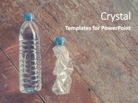 Amazing theme having plastic water bottles with water backdrop and a gray colored foreground.