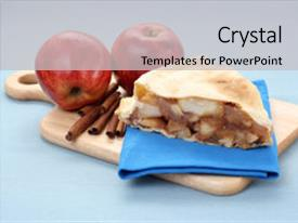 Apple pie powerpoint templates crystalgraphics amazing ppt theme having plate of apple pie backdrop and a light gray colored foreground toneelgroepblik Images