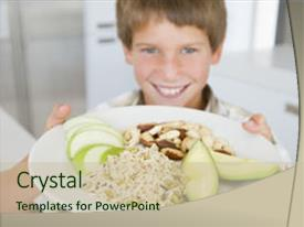 Beautiful PPT theme featuring plate of healthy food backdrop and a soft green colored foreground.