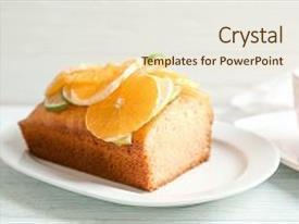 PPT theme with plate with delicious sliced citrus cake and orange on wooden table background and a lemonade colored foreground.