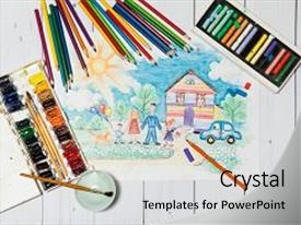 Audience pleasing slide deck consisting of hand drawn bright colorful childrens backdrop and a light gray colored foreground.