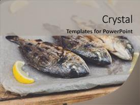 Presentation enhanced with plenty of dorado fish grilled background and a light gray colored foreground.
