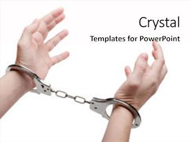 PPT layouts consisting of police law steel handcuffs arrest crime human hand background and a pink colored foreground