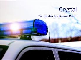 Cool new presentation theme with police patrol car of the state automobile inspection transport inspection carry public service cloe up view of police roof lights stop backdrop and a sky blue colored foreground.