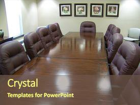 PPT theme having polished conference table with executive background and a tawny brown colored foreground.