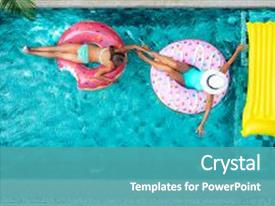 Audience pleasing PPT theme consisting of pool at private villa inflatable backdrop and a teal colored foreground.