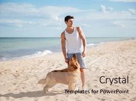 Beautiful presentation design featuring portrait of attractive young man standing with his dog on the beach backdrop and a soft green colored foreground