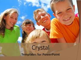 Amazing presentation theme having portrait of five smiling children backdrop and a coral colored foreground.