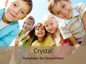 Presentation design enhanced with portrait of happy kids outdoor background and a coral colored foreground.