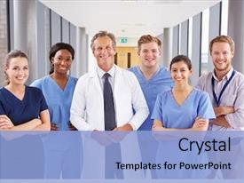 Presentation theme having portrait of medical team standing background and a light blue colored foreground