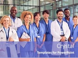 Amazing slide deck having portrait-of-smiling-medical-team backdrop and a teal colored foreground
