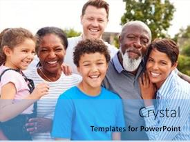 Amazing slide deck having portrait-of-smiling-multi-generation backdrop and a light blue colored foreground