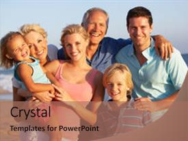 Slide deck enhanced with portrait of three generation family background and a coral colored foreground.