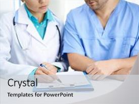Amazing presentation theme having portrait of two medical colleagues backdrop and a light gray colored foreground.