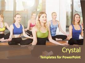 Cool new theme with pose relaxation meditation posture health backdrop and a tawny brown colored foreground.