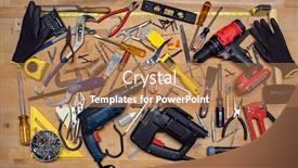 Presentation theme featuring power-and-hand-tools-miscellaneous background and a coral colored foreground