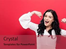 5000 solid powerpoint templates w solid themed backgrounds beautiful presentation theme featuring powerful young woman a backdrop and a red colored publicscrutiny Images