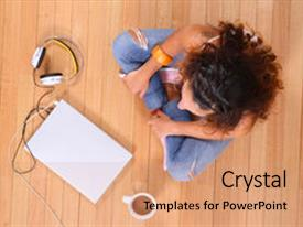 Beautiful theme featuring powerplugs - girl sitting on the floor backdrop and a coral colored foreground.