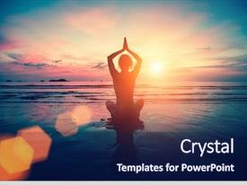 PPT layouts consisting of practicing yoga on the beach background and a navy blue colored foreground
