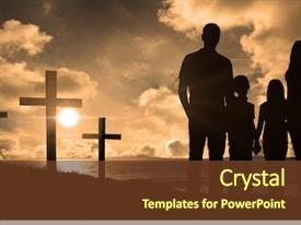 PPT layouts featuring prayer - cheerful family holding hands background and a tawny brown colored foreground