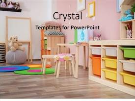 Slide deck with preschool - beautiful interior of game room background and a soft green colored foreground