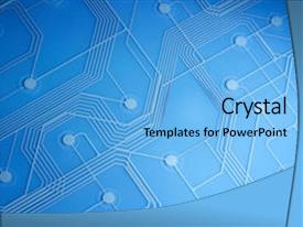 Audience pleasing presentation design consisting of printed circuit backdrop and a light blue colored foreground.