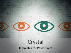Presentation theme consisting of privacy concept row of painted orange eye icons around green eye icon on digital paper background background and a light gray colored foreground