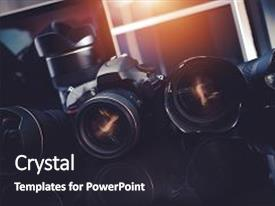 PPT theme enhanced with arsenal - pro photography technology professional digital background and a dark gray colored foreground.