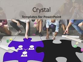 Presentation theme consisting of startup - process jigsaw - team building background and a light gray colored foreground.