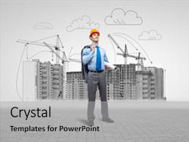 PPT layouts having project buy - young man in hardhat background and a light gray colored foreground.