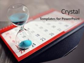 Presentation consisting of project - hour glass on calendar background and a light gray colored foreground.