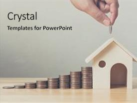 Beautiful presentation theme featuring property investment and house mortgage financial concept hand putting money coin stack with wooden house backdrop and a light gray colored foreground.