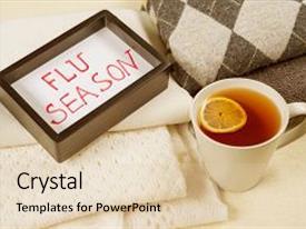 Amazing presentation having flu season - warm woolen clothing backdrop and a lemonade colored foreground.