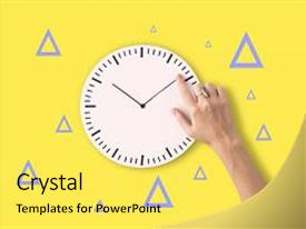 Slide deck having punctuality - clock time second minute hour background and a yellow colored foreground