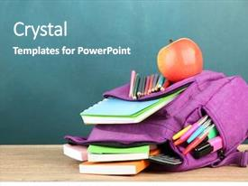 Presentation design consisting of purple backpack with school supplies background and a teal colored foreground