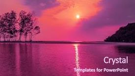 Cool new PPT theme with purple sunset over the sea backdrop and a violet colored foreground