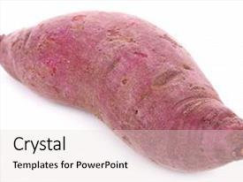 Presentation having purple sweet yams on white background and a lemonade colored foreground.