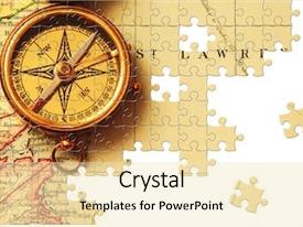 Colorful slide deck enhanced with puzzle antique brass compass backdrop and a lemonade colored foreground