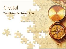 Beautiful PPT theme featuring puzzle antique brass compass backdrop and a cream colored foreground