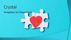 Presentation enhanced with puzzle forming a heart background and a cyan colored foreground